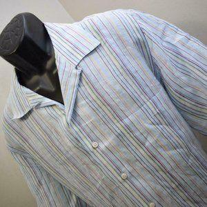 Mens Bugatchi Uomo Striped 100% Linen Short Sleeve